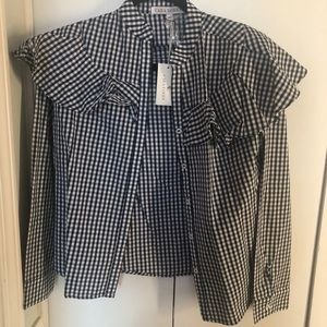 Tops - Cara Loren sz XS navy/white gingham button up